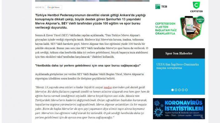 TRT Haber-Merve'ye SEY Vakfından Destek!